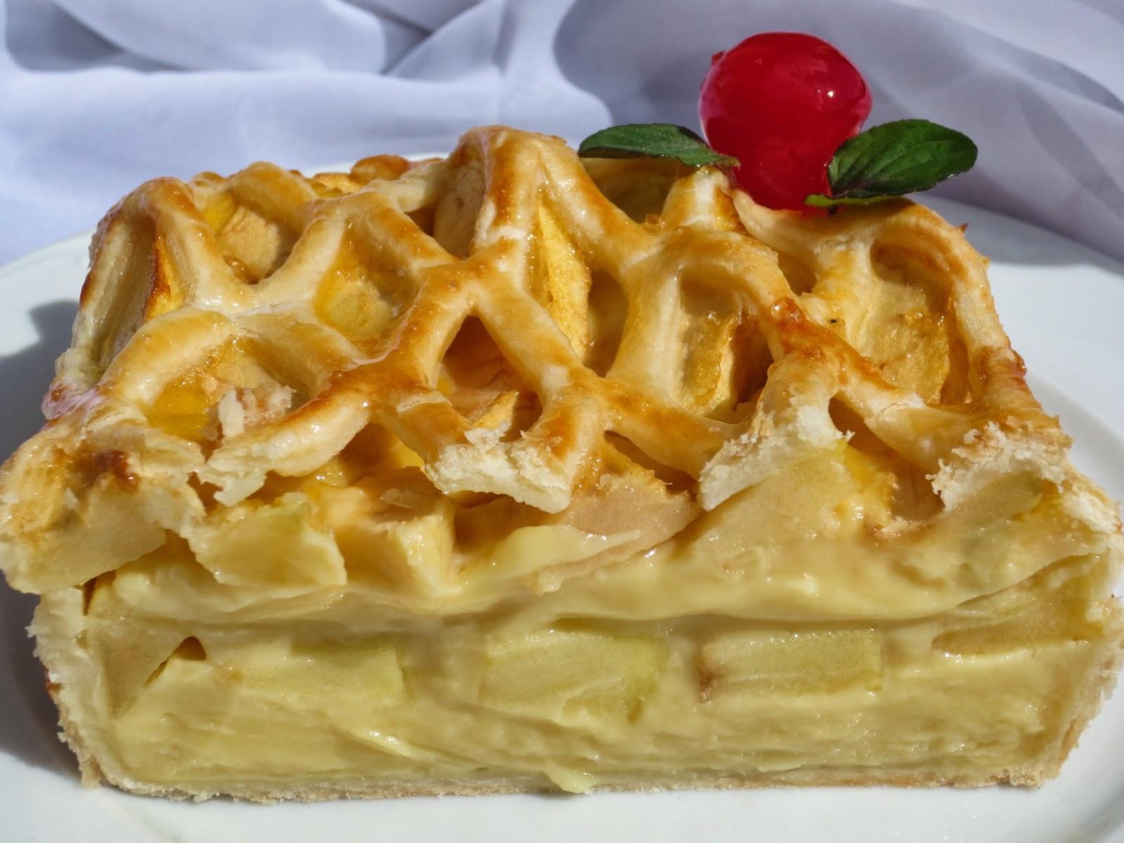 Tarta de crema y manzana