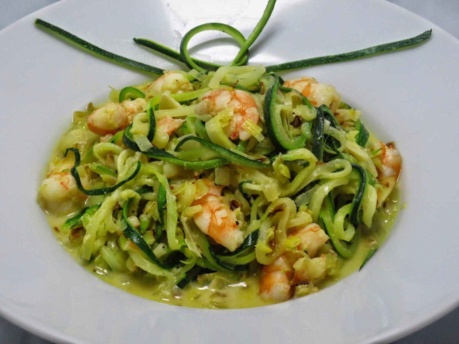 Espaguetis de calabacín con langostinos