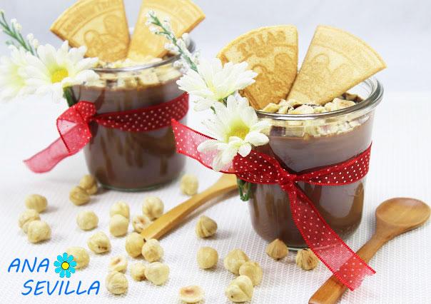 Natillas de chocolate y avellanas