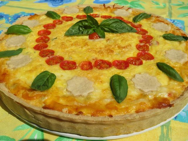 Tarta caprese (Tomate, albahaca y mozzarella)
