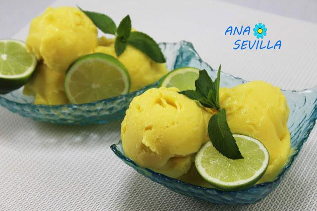 Sorbete de piña y mango