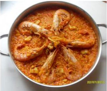 Sepia con gambas y arroz