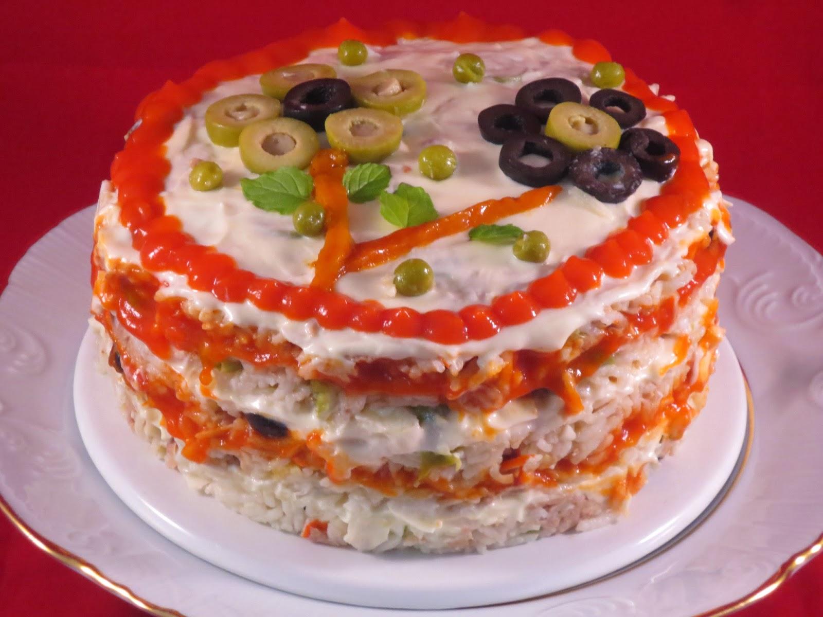 Pastel de ensalada de arroz