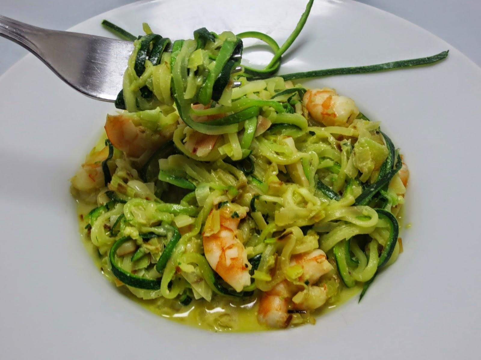 Espaguetis de calabacín con langostinos olla GM