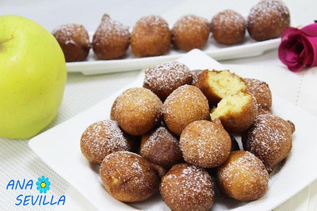 Buñuelos de ricotta y manzana