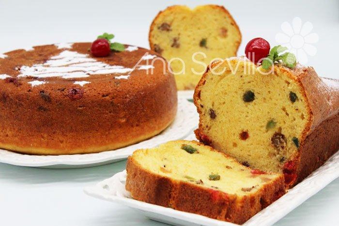 Plum-cake de frutas escarchadas de aceite de oliva
