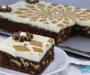 Tarta de brownie y flan