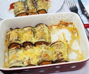 Canelones de berenjena, atún y tomate