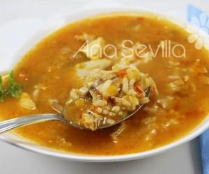 Sopa de arroz con pollo y verduras