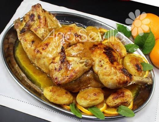 Pollo glaseado a la naranja