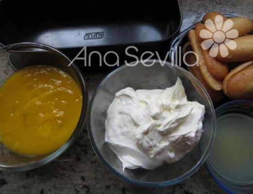 Montaje del tiramisú de mango