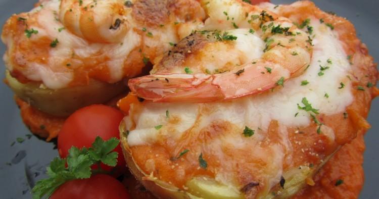 Patatas rellenas de langostinos Thermomix