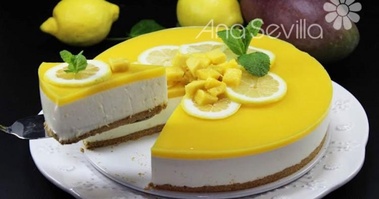 Cheesecake de limón y mango