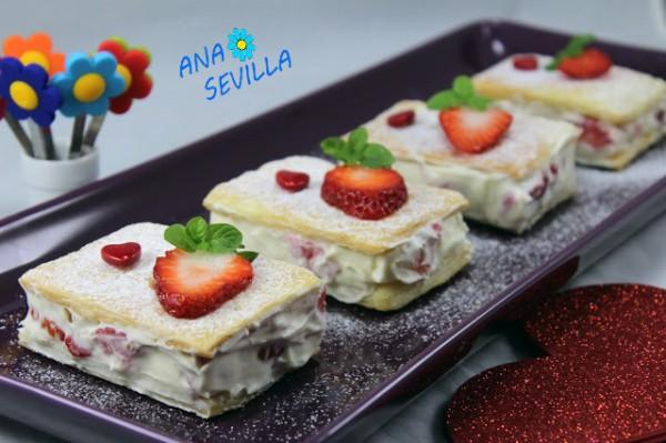 Pasteles de hojaldre, mascarpone y fresas, cocina tradicional. Ana Sevilla