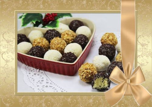 Trufas de chocolate blanco montaje