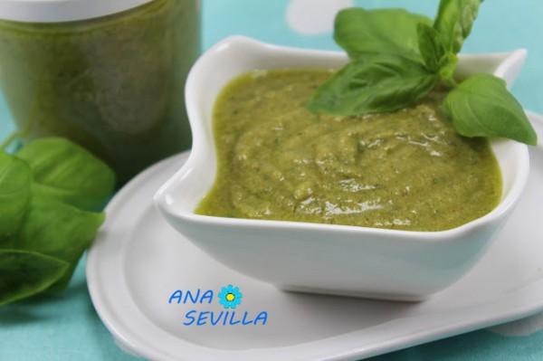 Receta italiana auténtica, Salsa pesto cocina tradicional. Ana Sevilla
