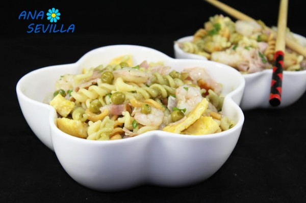 Ensalada de pasta tres delicias Ana Sevilla cocina tradicional