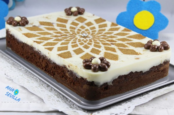 Tarta brownie y flan con Thermomix.