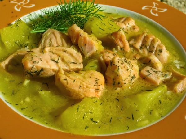 Guiso de salmón con patatas Thermomix