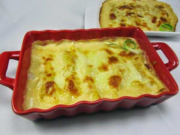 Canelones de merluza y langostinos Ana Sevilla cocina tradicional