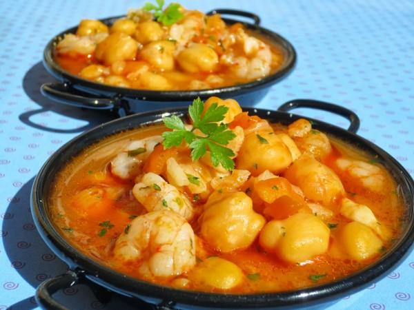 Garbanzos con gambas y arroz Ana Sevilla