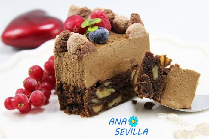 Tarta mousse de chocolate con brownie